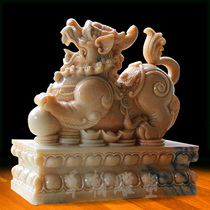 Stone carving sunset red wild pair of lucky evil door decoration marble home town house antique stone animal