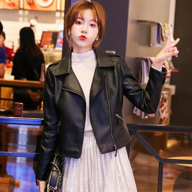Leather leather jacket female autumn and winter new 2020 Korean version of motorcycle leather slim thin high waist soft leather short jacket