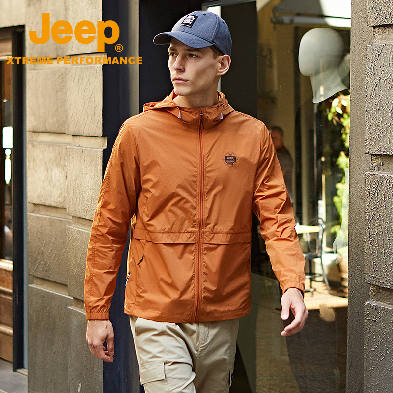 Jeep fishing sunscreen mens ultra-thin breathable skin clothing outdoor summer ice silk sun protection jacket
