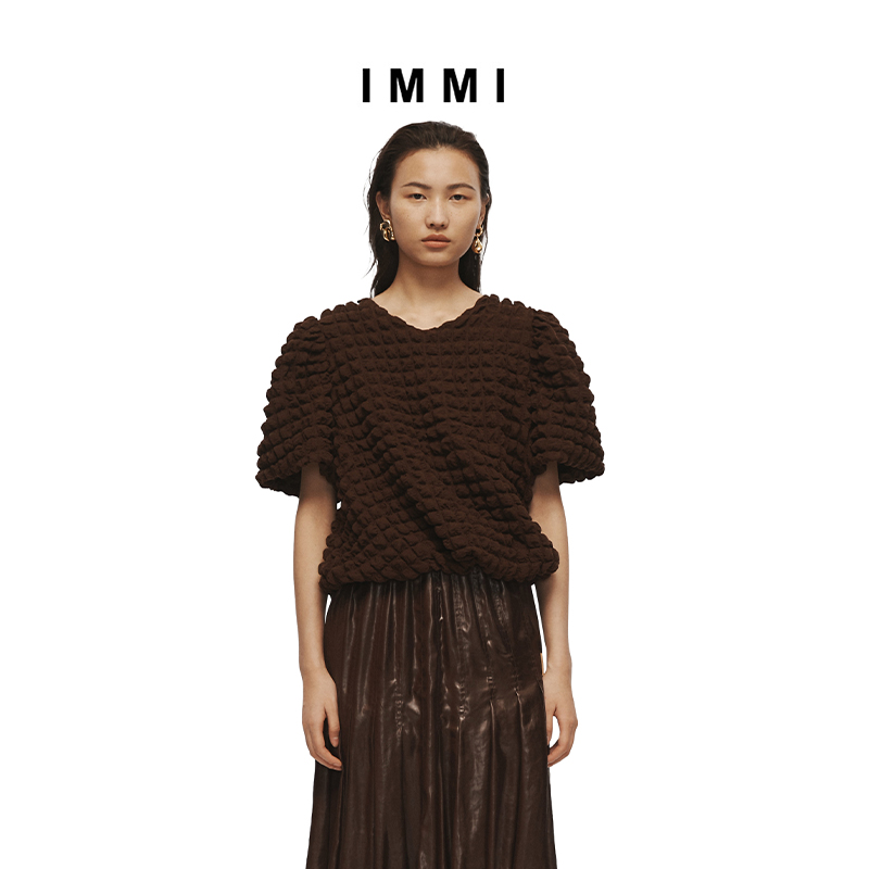 (Designer Brand IMMI) 21 Spring and summer new checkered bubble top 111TP058X