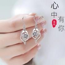 Zhou Shengsheng PT950 platinum diamond earrings female 18K white gold stud earrings temperament earrings Tanabata Valentines Day