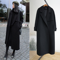 2020 spring and autumn new Korean version of loose thick cashmere black Hepburn Wind over the knee in the long section of woolen coat women