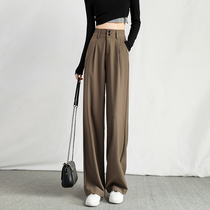 Wide leg pants womens high waist hanging loose thin casual small spring and autumn 2021 New straight tube suit pants