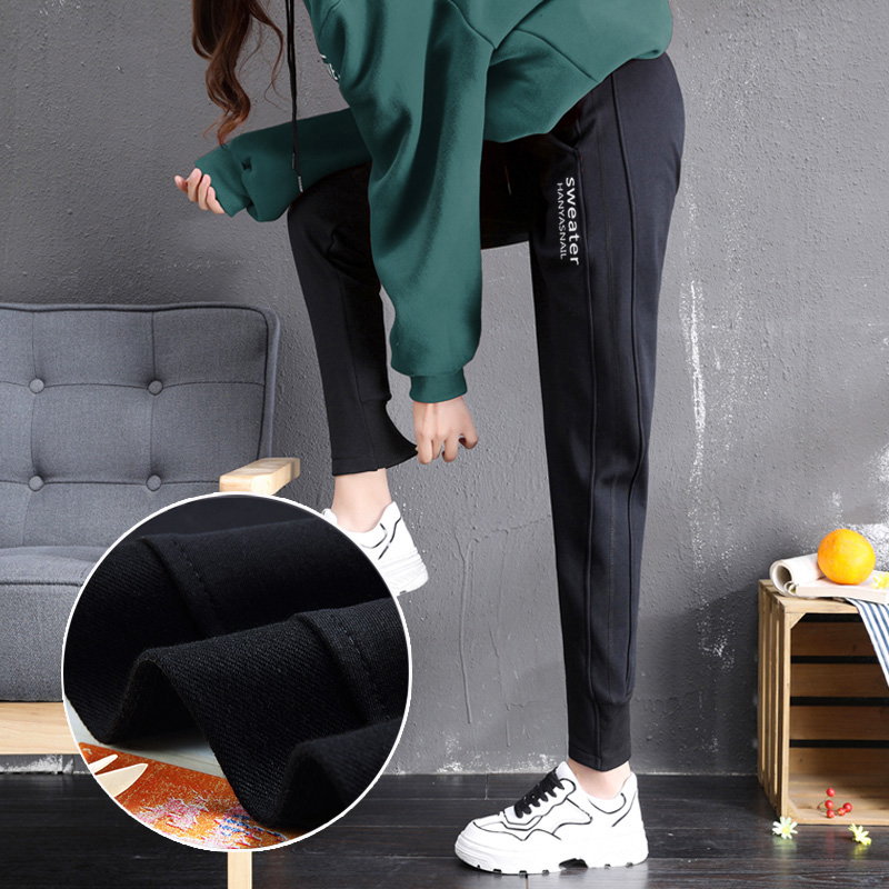 Plus-down sweatpants women wear 2020 new Harlan pants loose-fitting autumn and winter pants casual womens pants