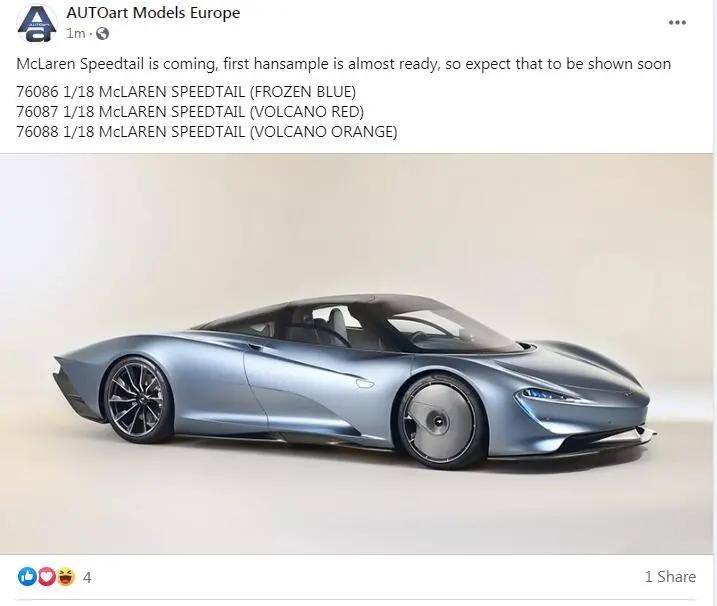 Otto 1:18 AUTOART McLaren SPEEDTAIL car model