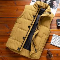 Мужчины жилет зима утолщение без рукавов плечевые мага жилет корейский тренд красивый теплый вниз хлопок пальто для мужчин