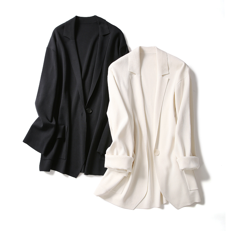 (ZZ0112438)Tone Lady fashionable urban commuter comfort silk one button knit blazer