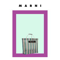MARNI HAPPY MARKET series spell color striped nylon shopping bag(New Arrival)