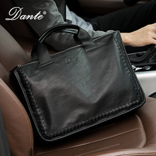 Woven leather sheepskin men's handbag, leather, business men's bag, casual leather, single shoulder briefcase.