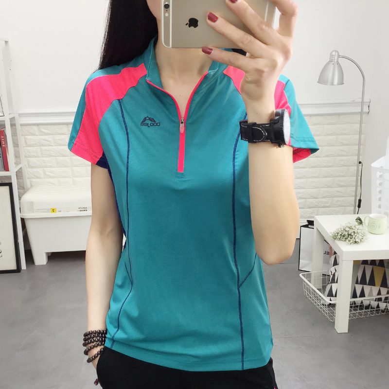 New Outdoor Women's Fast Drying T-shirt, Short Sleeve Standing Collar, Sunscreen Sports, Running, Mountaineering Clothes, Breathable Fast Drying Clothes
