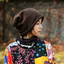 Thousand Love forest original retro design sense loose sack hat knitted hat autumn winter pure wool line