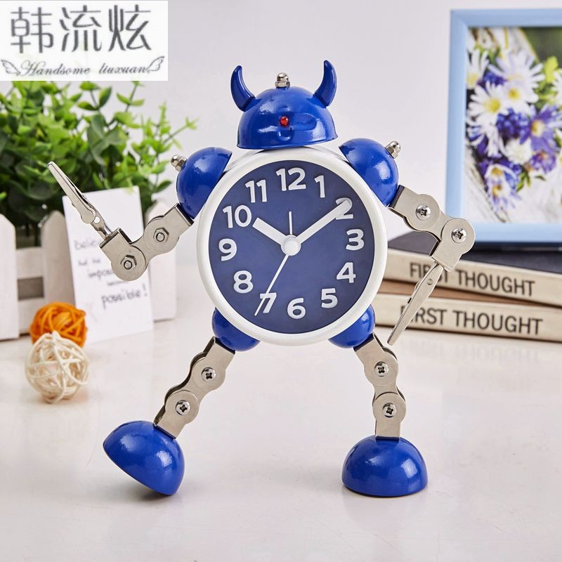 Metal Robot Children's Alarm Clock Student Creative Simple Bedroom Bedside Cute Cartoon Clock Boy with Silence