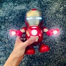 Dancing Iron Man robot shake the same toy Marvel series light music electric childrens gift