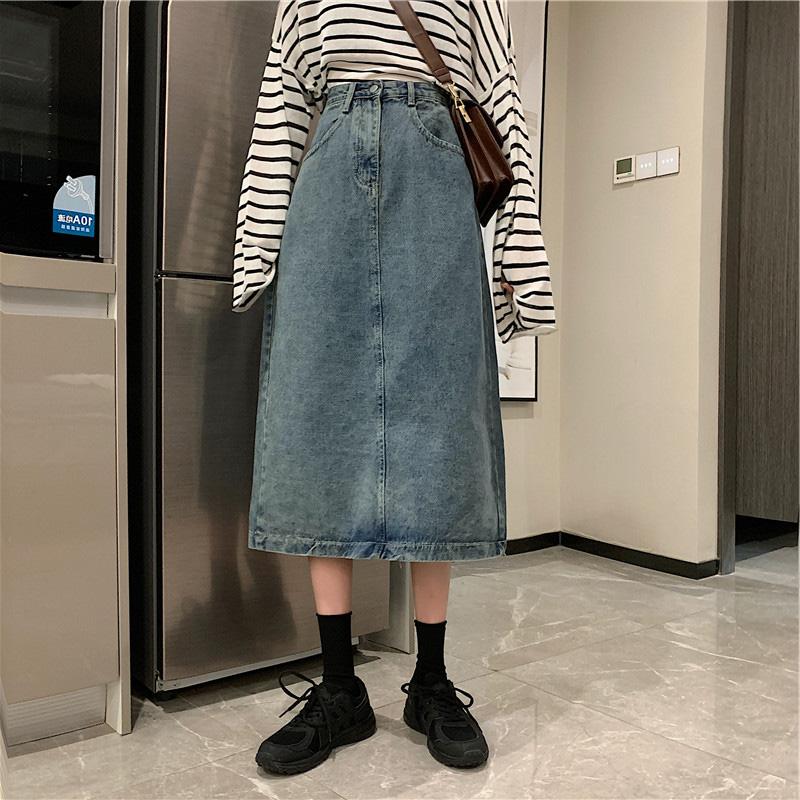 Jupe 2020 automne nouvelle taille femme grosse sœur mm couvrir mince moyenne longue jupe en denim taille haute