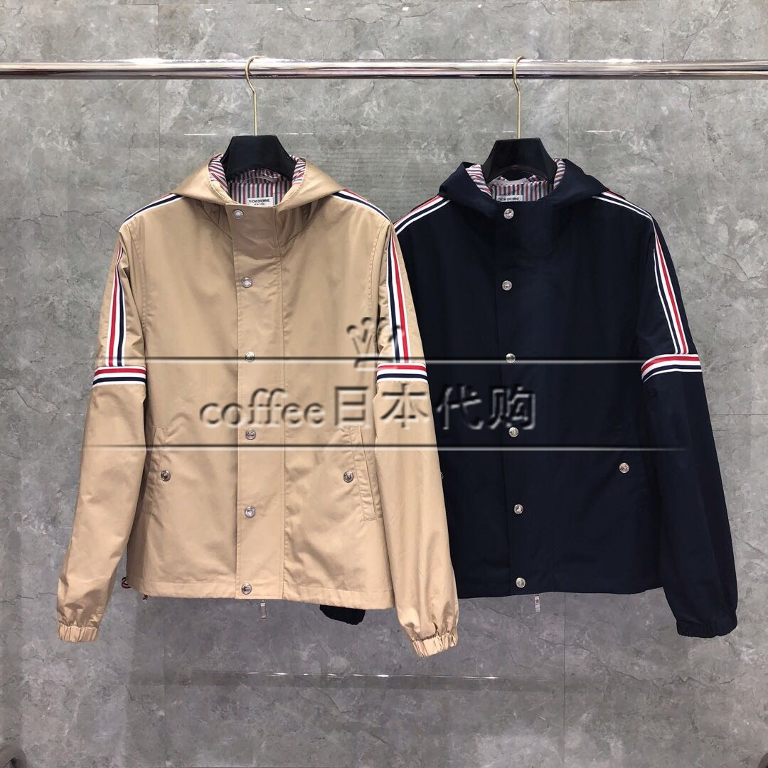 Coffee Day Thom Brownes new TB mens and womens coats shoulder-striped hooded jacket windshields
