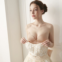 Chest paste womens wedding dress with ultra-thin summer silicone invisible sling bra thickened small chest special milk paste gathered on 託