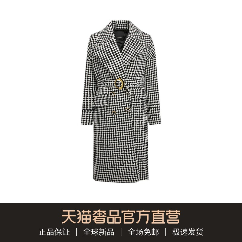 PINKO black and white fashion v-neck fashion wild womens long wool coat