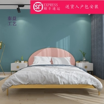 Simple modern iron Bed 1.5 single bed ins iron bed European light Luxury iron Princess bed master bedroom 1.8 m