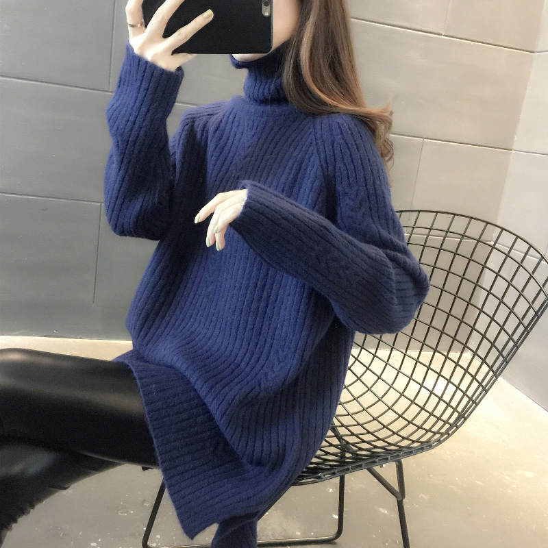 High-necked medium-length version sweater women 2020 new autumn winter loose outer wearing foreign pie winter thick lazy knit bottoms