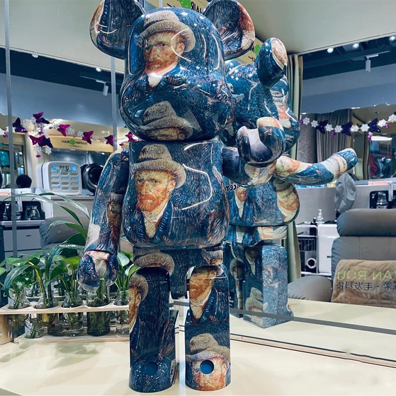 bearbrick жестокий медведь строительные блоки Медведь Ван Гог автопортрет Подсолнечное покрытие Qianqiu украшения прилив кукла слепая коробка