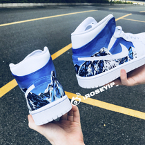 (YIP Store)shoes custom AJ1 Snow Mountain color change color graffiti painting DIY services