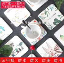 Thermostatic Cup pad anti-skid insulation pad European cute home cartoon green wine Table Mat Cup mat