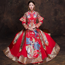Xiu wo clothing 2017 new style toast married dragon and Phoenix coat wedding dress cheongsam chinese dress bride Chinese gown