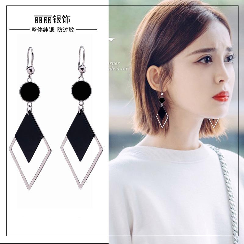 Earrings female Korean temperament net red diamond-shaped S925 body pure silver anti-allergy earrings 2021 new trend earrings