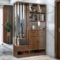 Living room cubicle cabinet Xuanguan shoe cabinet light luxury double-sided solid wood wine cabinet against the wall solid wood into the door room cabinet screen into the home