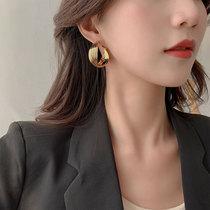 Korean circle earrings female sterling silver vintage Hong Kong style Hepburn temperament high-class sense net red exaggerated ear ornament light luxury atmosphere
