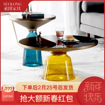 Nordic personality creative color tempered glass bell coffee table designer Light Luxury simple modern round Small Angle a few