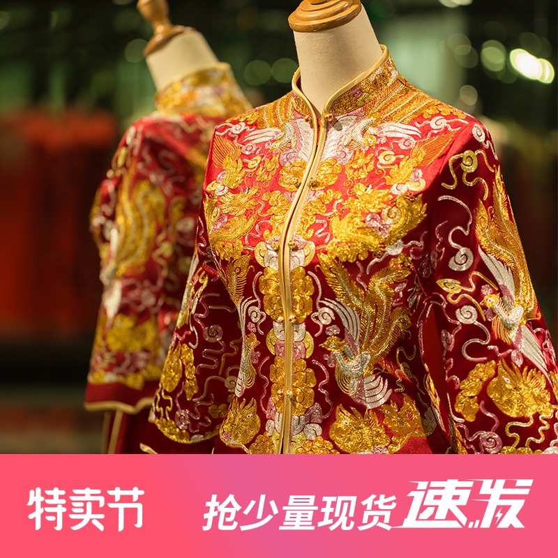 Manting Fangxiu Wo clothing 2021 new cabinet toast wedding ceremony and wedding dress Chinese wedding bride dragon and phoenix gown