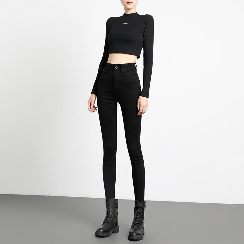 Black jeans womens winter 2020 new plush plus thick high waist elastic tight show thin feet thin velvet trousers