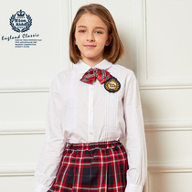 Eaton Kidd childrens solid color white college girls  shirts