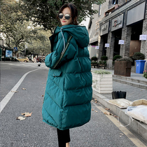 2018 new pregnant womens winter clothes cotton dress female medium long loose cotton jacket down cotton dress late winter coat