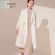 New high-end autumn dress, high-end genuine double-sided cashmere overcoat, mid-long knee wool wool overcoat for women