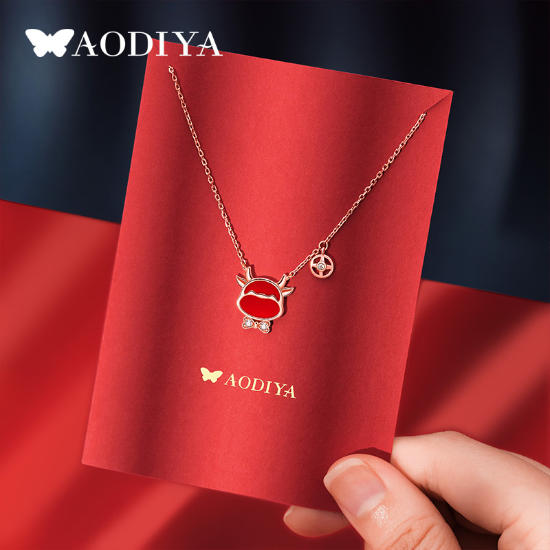 Swaro Swartzs new year cow necklace female pure silver collarbone chain zodiac pendant to send his girlfriend a New Years birthday gift