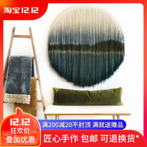 Blue Art Square hand-woven dyeing tapestry Nordic ins simple wind tapestry hanging pictures homestay living room bedroom decoration