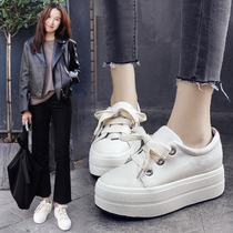 Wild leather Korean version of sponge cake with casual white shoes