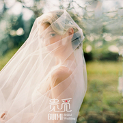 The new Korean bride veil super simple retro nude wedding veil headdress yarn all-match plain yarn trip shoot concealed