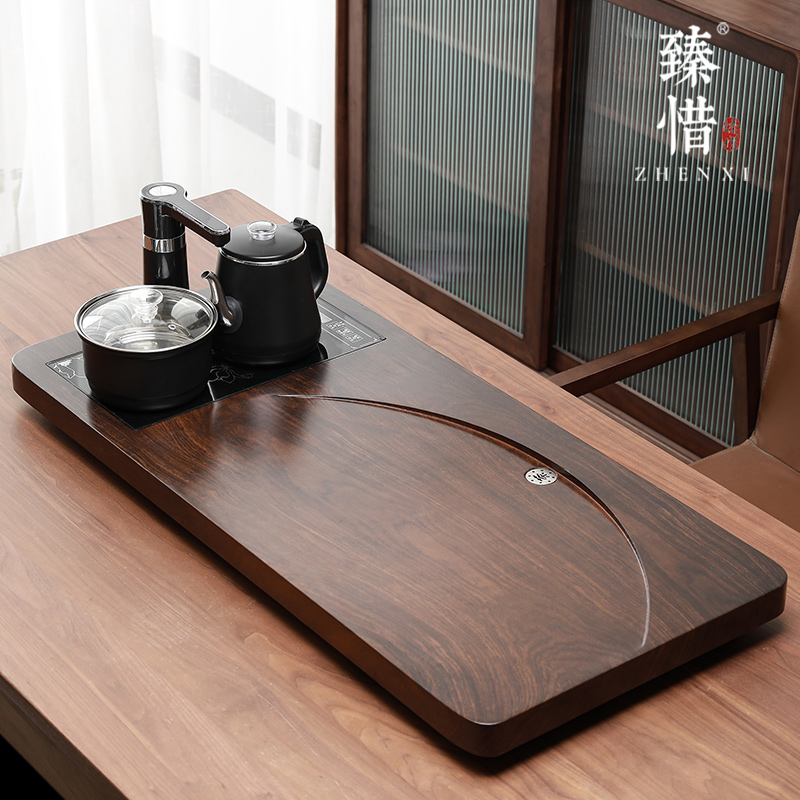 Regret the modern new Chinese light luxury fully automatic all-in-one tea plate home kung fu tea set simple solid wood tea table