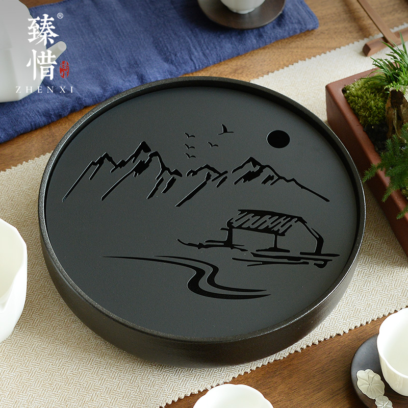 The stainless steel dry-brewed tea plate simple household ceramic kung fu tea set round water storage table Japanese-style tray