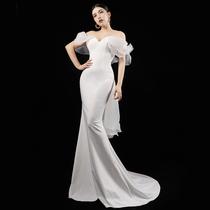 White banquet annual meeting fashion party host one shoulder fashion S-shape slim evening dress dress female