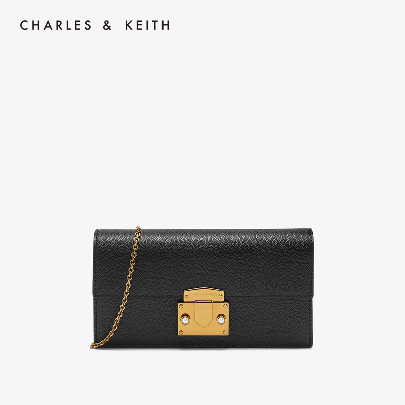 CHARLES & KEITH Wallet CK6-10840143-1 Metal Chain Semi-precious Lady's Long Purse