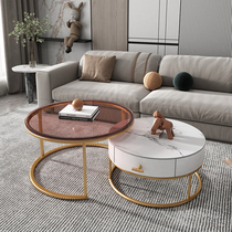 Nordic rock plate coffee table combination Simple modern light luxury Tempered glass coffee table Business reception Wrought iron round coffee table