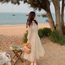 2021 spring and summer womens new fairy forest skirt tea break French age-reducing waist sweet thin dress