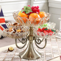 Rotating Doggo-style fruit plate Modern living room creative household coffee table glass snack plate light luxury dried fruit plate