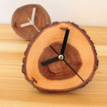 Log personality creative Ring clock solid wood clock elm small clock mute simple wood clock desktop decoration