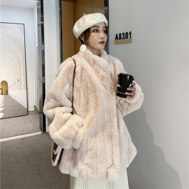 Lamb plush coat female autumn winter hundred with 2020 new imitation rabbit fur thick and thin collar coat