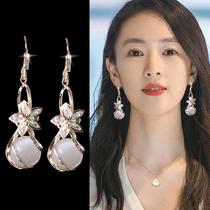 Opal earring 2021 new tide eardrop temperament high sense atmosphere sterling silver South Korea web celebrity flower earring